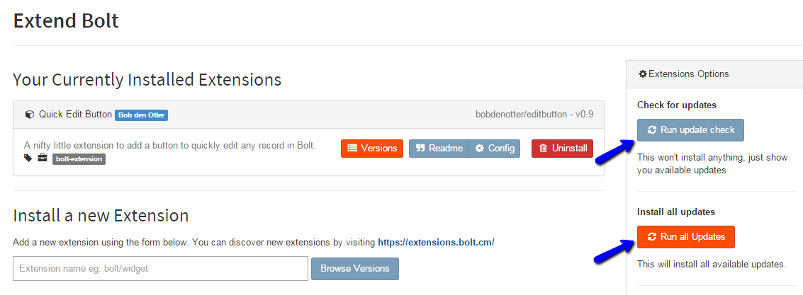 Check for Bolt Extension Updates