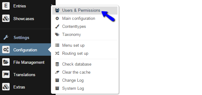 Access Users and Permissions Section in Bolt
