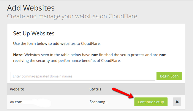 Continuing the setup of a new website in CloudFlare