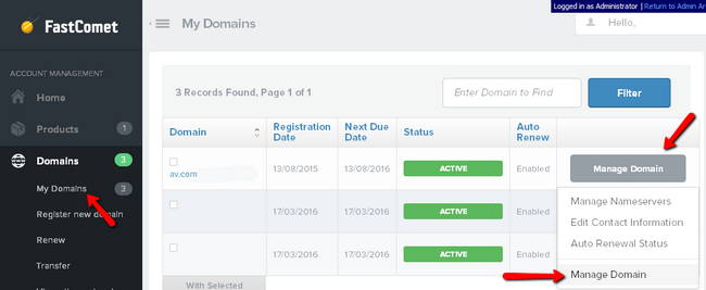 Managing the domain nameservers in FastComet