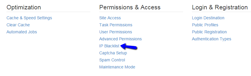 Access IP blacklist manager in Concrete5