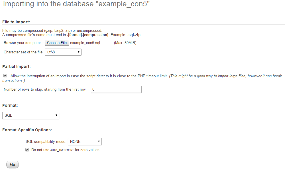 Upload and restore database via phpMyAdmin