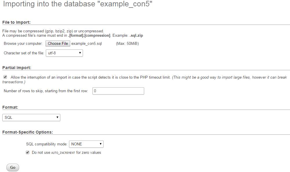 Upload and restore database via phpMyAdmin