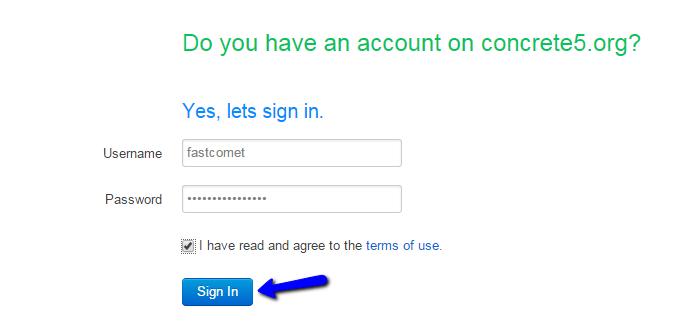 Access your Concrete5 community account