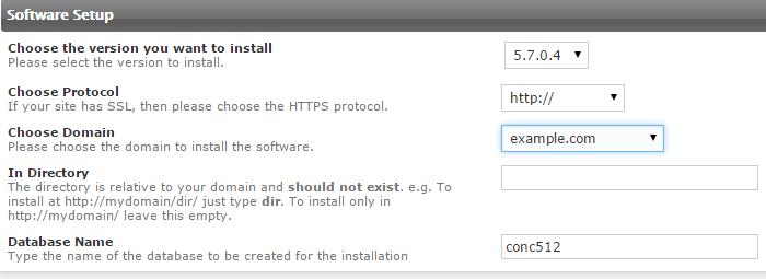Configure software setup details for Concrete5 installation
