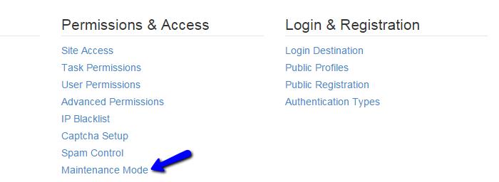 Access maintenance mode feature in Concrete5