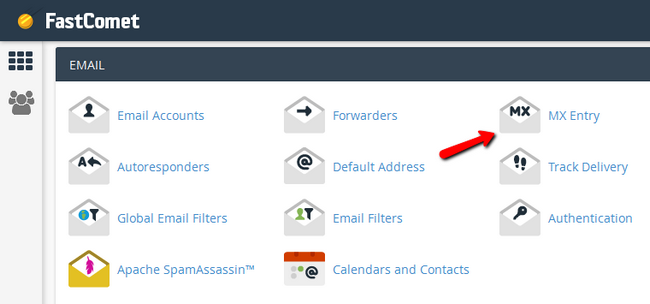 Accessing the MX Record menu in cPanel