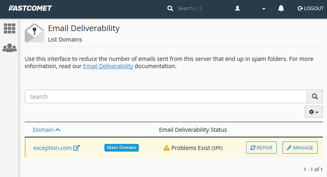 Access the Manage Interface for Email Records in cPanel
