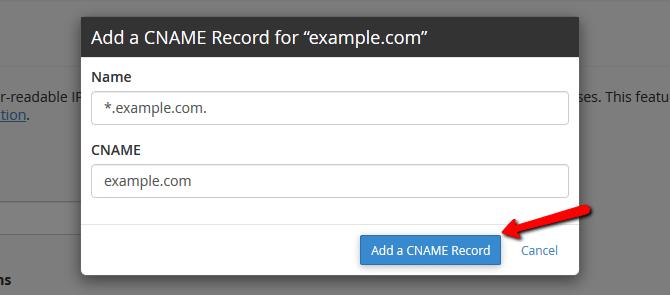 Add CNAME Record for a Domain via cPanel
