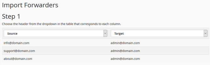 Choose Column Headers for your Imported Email Forwarders