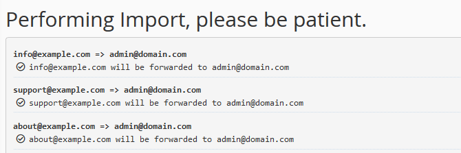 Complete the Email Forwarders Import in cPanel