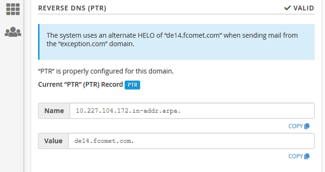 Configure a Valid PTR Record in cPanel