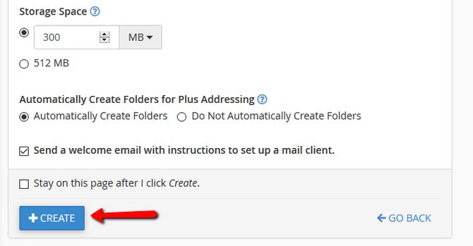 Configure Email Storage Quota and Plus Addressing Options
