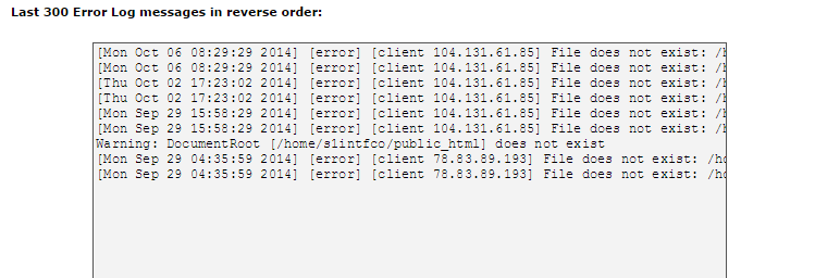 cpanel error log