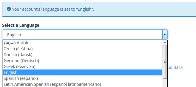select language in cpanel