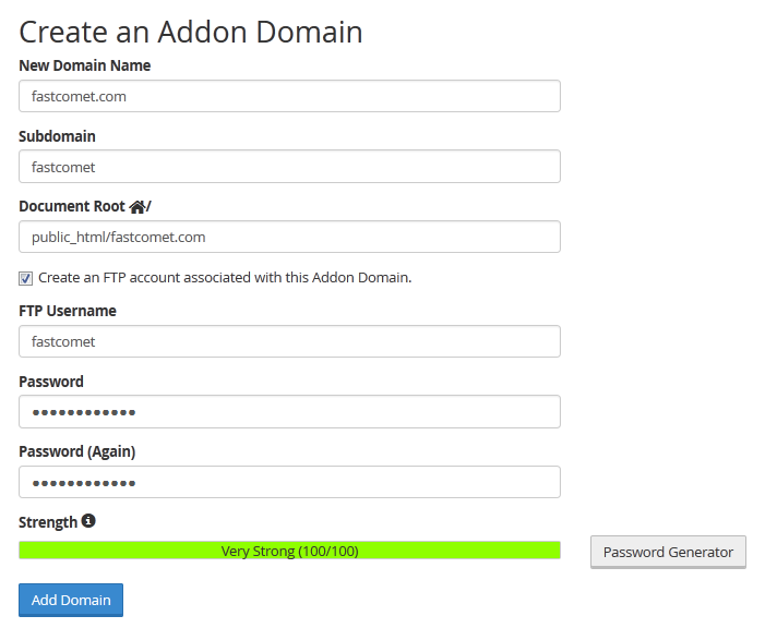 configure addon domain