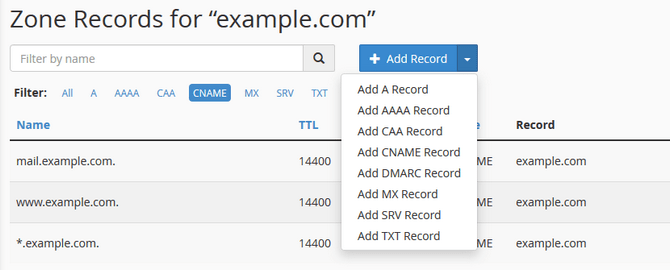 Create a DNS Record by Type via cPanel's Zone Editor