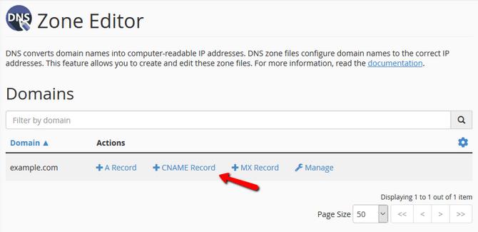 Create a DNS Record quickly via the cPanel Zone Editor