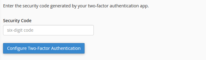 Finish cPanel Two-factor Authentication Set Up