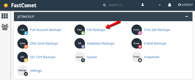 Accessing the Files Backups feature in FastComet's cPanel