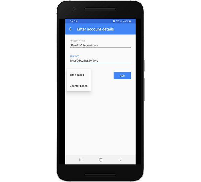 Manually Create a Two-factor Authentication Entry in Google Authenticator