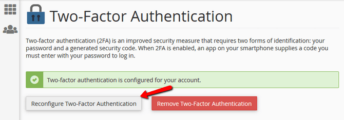 Reconfigure Two-factor Authentication for cPanel