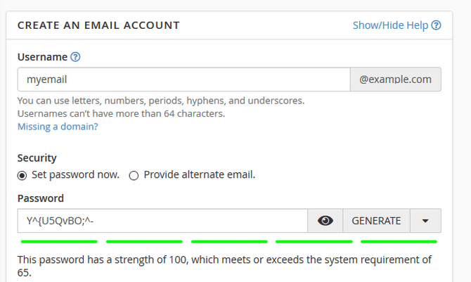 Select Username and Password for the Email Account