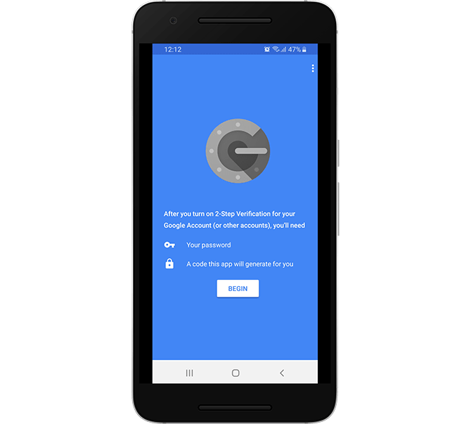 Start the Two-factor Authentication process in Google Authenticator