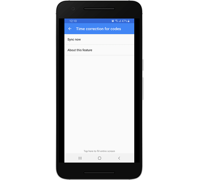 Time Correction Sync Feature in Google Authenticator