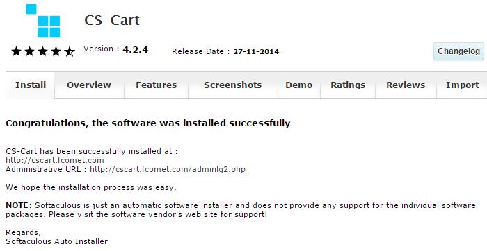 CS-Cart successfully installed via Softaculous