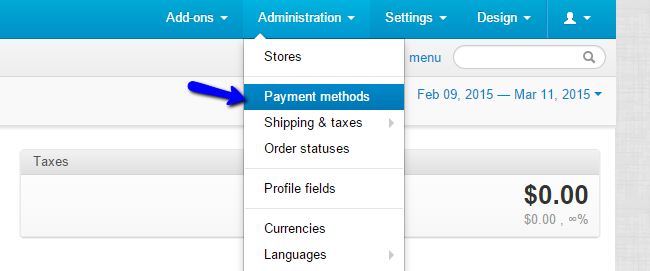 Access Payment Methods in CS-Cart