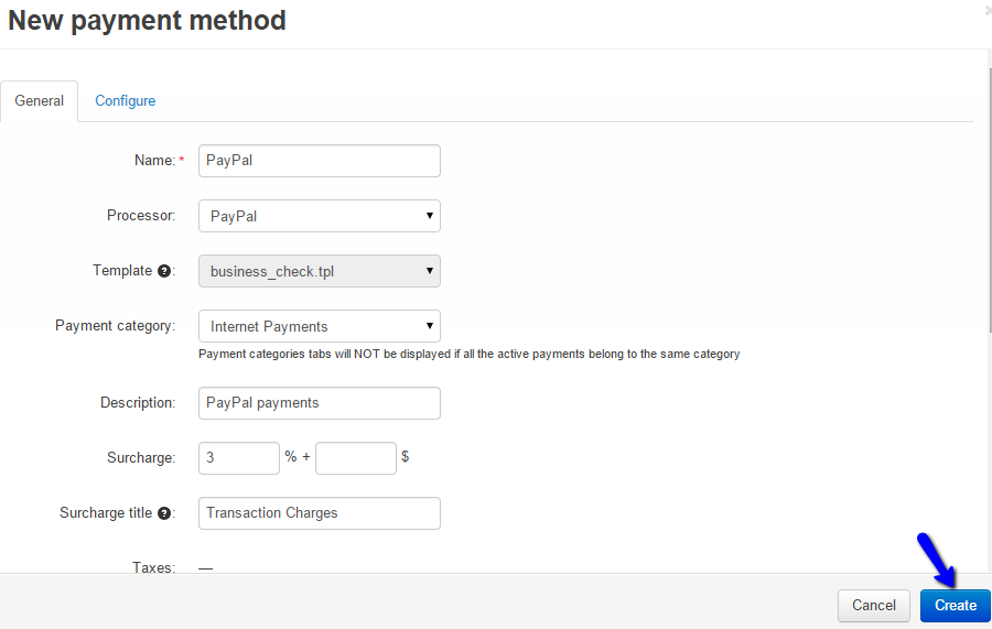 Payment Method details in CS-Cart
