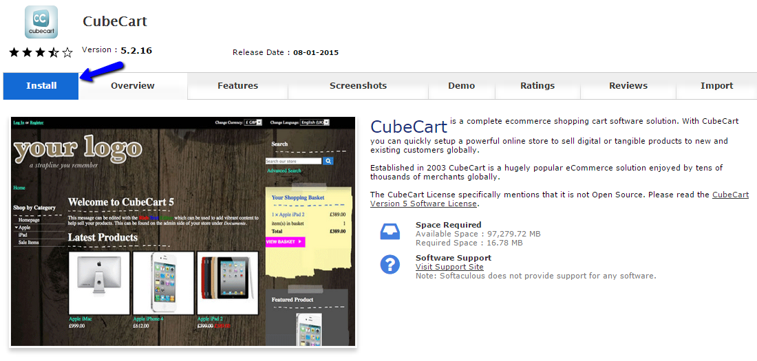 Install CubeCart via Softaculous