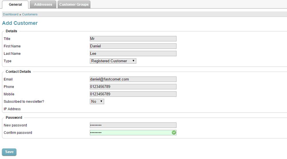 Edit customer details in CubeCart