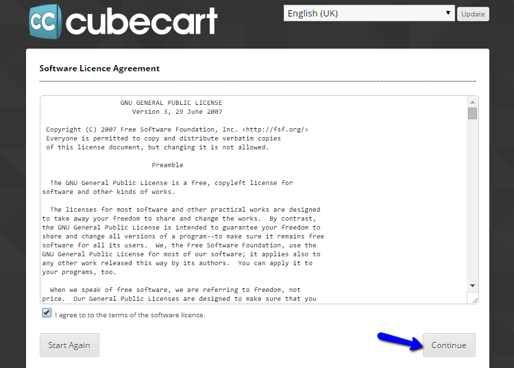 Licence agreement during CubeCart install