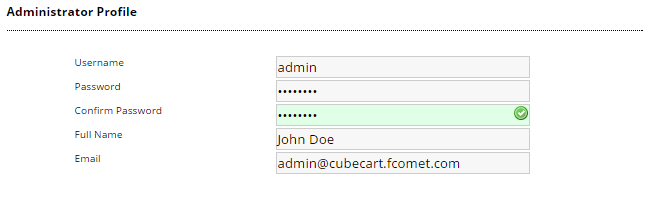Administrator profile during CubeCart install