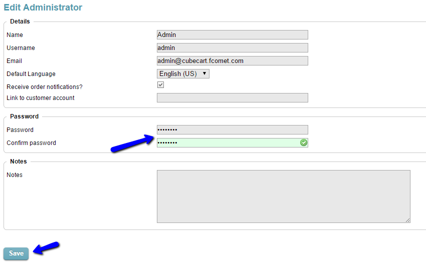 Change admin password in CubeCart