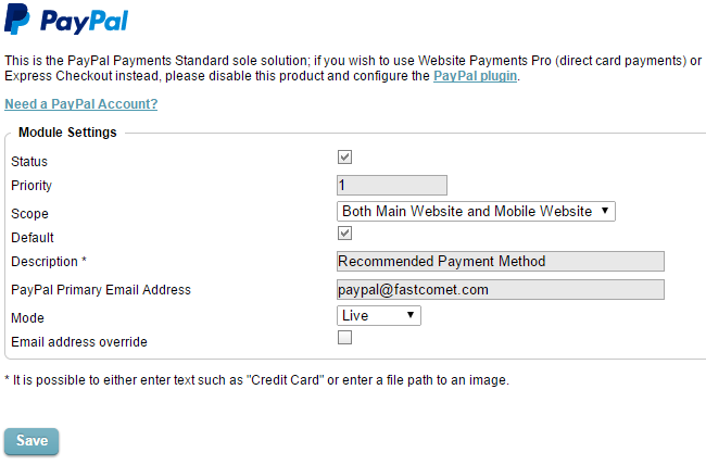 Enable and configure payment gateway in CubeCart