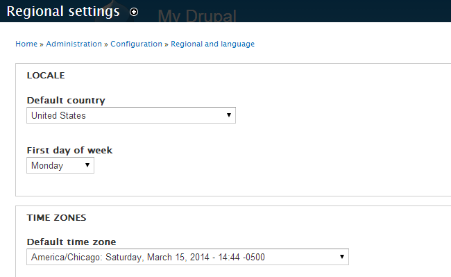 Set locale and time zone options in Drupal