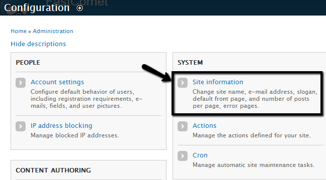 Access Site Information options in Drupal