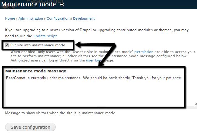 Enable maintenance mode in Drupal