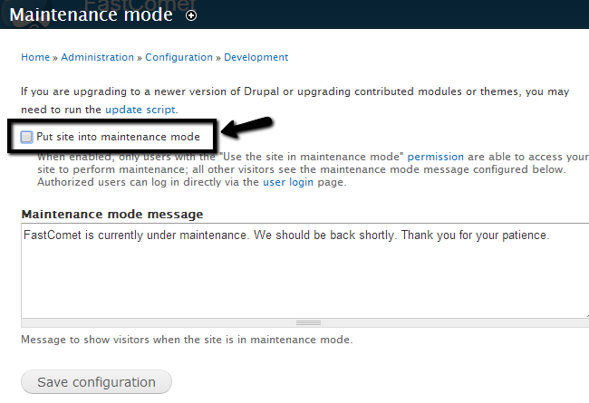 Disable maintenance mode in Drupal