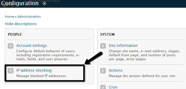 Access the IP blocking feature of Drupal