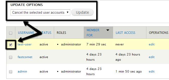 Delete a user in Drupal