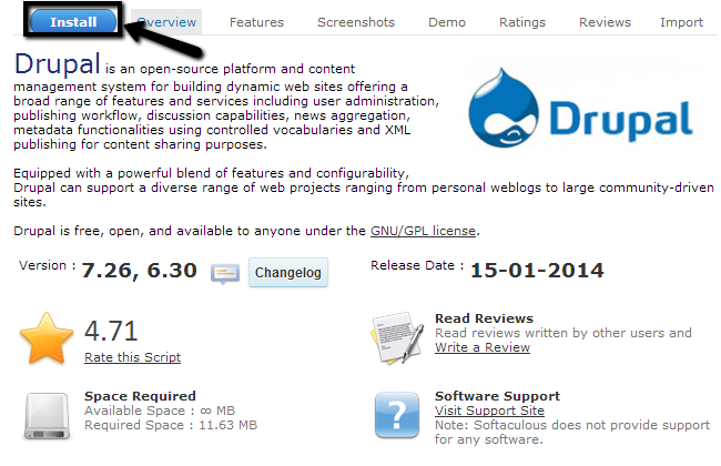 Softaculous overview of Drupal