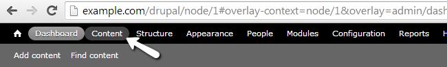 Access Content menu item in Drupal