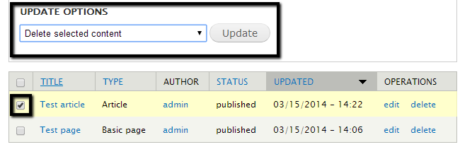 Remove existing articles in Drupal