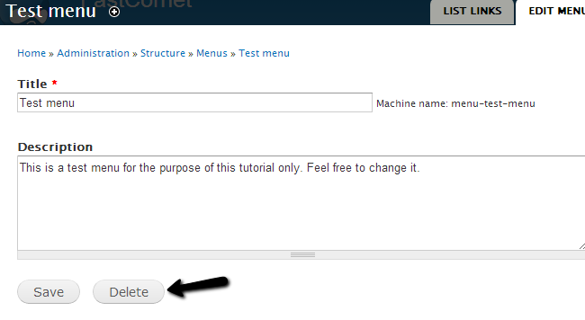 Confirm menu removal in Drupal