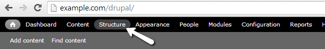 Access the Structure menu in Drupal