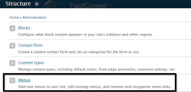 Access menus structure type in Drupal